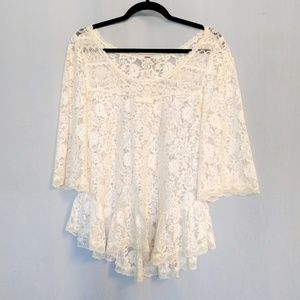 Free People Floral Lace Peplum Top